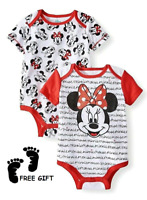 Disney Minnie Mouse 2 Pack One Piece Bodysuit Infant Baby Girl Size 6-9 Months