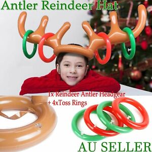 1/2/3Set Inflatable Toss Game Christmas Hat Toys Reindeer Antler Xmas Ring Party