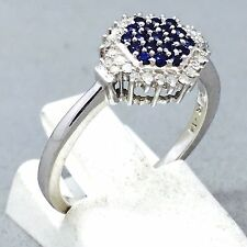"STUNNING 9CT WHITE GOLD SAPPHIRE & DIAMOND ENGAGEMENT DRESS RING SIZE ""N""   1095"
