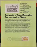 USPS 1977 First Day Issue Souvenir Page, Centennial of Sound Recording - $0.13