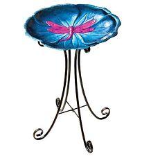 Dragonfly Metal Birdbath & Stand New purple blue garden art centerpiece feeder
