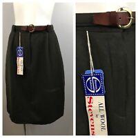 1960s Military Green Skirt / NOS High Waist Belted A Line Skirt Unworn / Small