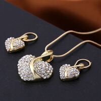 Female Heart Jewelry Set Necklace Earrings Sapphire Ruby Vintage Crystal Gift S