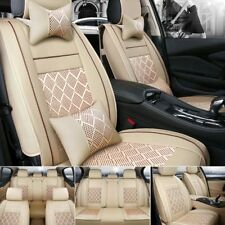 US Car Seat Cover PU Leather&Mess 5-Seats Cushion Sedan SUV Front+Rear w/pillows