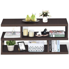 Coffee Table w/ Storage Open Shelf Accent Cocktail Table Modern for Living Room