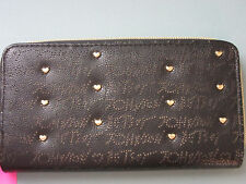 NWT Betsey Johnson Logo Perforated Black Gold Heart Studs Zip Around Wallet $68