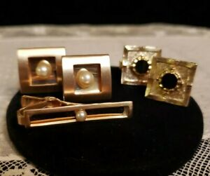 2 PAIR Square Goldtone Cufflinks - ANSON White PEARL With TIEBAR SET, BLACK Onyx