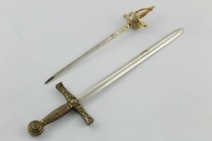 Set Of 2 Letter Opener With Shaped Sword And Florete. Vintage Years 80 Toledo