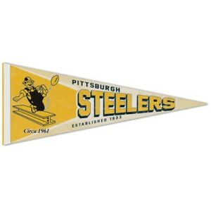 """PITTSBURGH STEELERS VINTAGE STYLE PREMIUM QUALITY PENNANT 12""""X30"""" BANNER"""