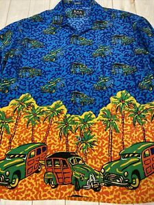K.A.D. KAD Clothing Mens Large Button Up Shirt Short Sleeve Jeep Wagoneer Palms
