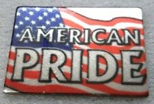 Usa American Flag Lapel, Hat, Tie Pin With American Pride Script Silver Pl New