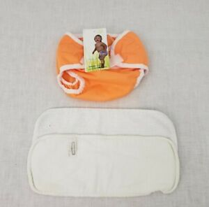 Thirsties Duo Wrap X-Small Reusable Orange Cloth Diaper Cover Snaps Insert