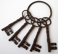 Cast Iorn Abby Or Mission Style Key Set Of 5 Keys With Key Ring Antique Finish