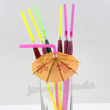 20pcs Paper Umbrella Plastic Drinking Fruit Straw Cocktail Beach Party Supplies