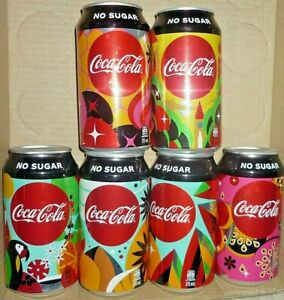 "Collectable Coca Cola cans:  Set of 6 Coke Zero '' Create Your...""  cans (2018)"