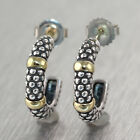 Caviar Lagos Sterling Silver & 18k Yellow Gold Station Huggie Earrings