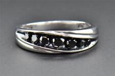 Black Diamond Wedding Band 10K White Gold Round Cut Mens 7 Stone Ring 0.76 Ct