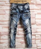 2019 Mens punk rock Slim Straight denim jeans biker denim jeans pants trousers