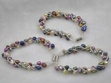 Wholesale 10 Pieces Multi-colored real freshwater pearl bracelets magnetic clasp
