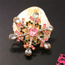 Snowflakes Charm Brooch Pin Gift New Betsey Johnson Pink Rhinestone Christmas