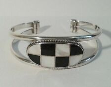 Vintage Heavy 925 Solid Sterling Silver Onyx & Mother of Pearl Cuff Bracelet