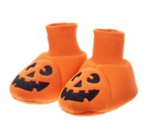 New Gymboree Boys/Girls Halloween Pumpkin Slippers 5-6 Toddler Jack O Lantern