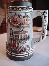 Vintage Large Hand Painted Ceramic Beer Stein Mug, Marked Franz