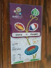 TICKET ENTRADA FOOTBALL EURO 2012 POLAND UKRAINE SPAIN ESPAÑA FRANCE WITH FLAGS