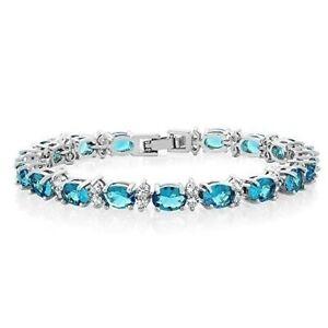 Gorgeous Oval And Round Lake Blue Cubic Zirconia Cz Tennis Bracelet Jewelry Gift