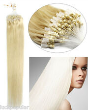 USStock Remy Human Hair Extensions Micro Ring Bead Loop Hair Light Blonde 18Inch