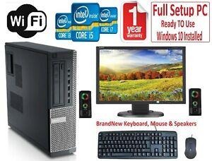 "DELL/HP Core i7 i5 QUAD DESKTOP TOWER PC & TFT 22"" Monitor 16GB Win 10 HDD & SSD"
