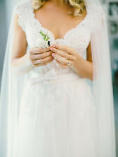 Beautiful V-Neck Lace Tulle Cap Sleeve A-Line Wedding Dress- Size 12