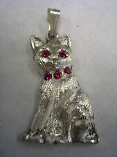 CAT PENDANT CHARM WITH GARNET RED EYES AND COLLAR IN STERLING SILVER