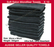 10Pk Salon Towel Microfibre Hairdressing Towels Black 35cm x 85cm Bleach Proof