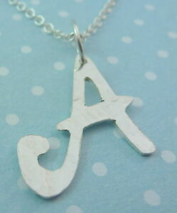 Sterling Silver Initial Necklace Letter Pendant Personalised A - Z Bridesmaid