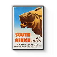 Vintage South Africa Calls Lion Animal Tourism Travel Poster Art Print - Framed