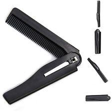 Beauty Comb Handmade Folding Black Travel Pocket Clip Hair Moustache Beard Comb