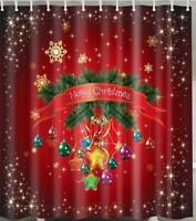 Father Christmas Santa on Toadstool Xmas Bathroom Shower Curtain Polyester