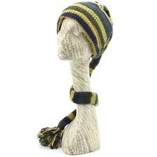 Hat Tail Knit Beanie Slouch Festival Wool Fleece Lined Hippy New Blue Green