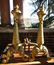 Antique Vintage Heavy Cast Iron Fireplace Andirons