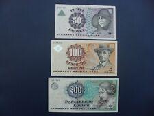 3No. DENMARK 50/100/200 KRONER BANKNOTES VF-GEF