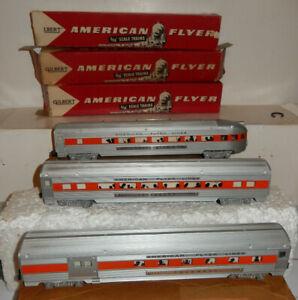 American Flyer  BRAND NEW MINT Orange Stripe Clipper Set Cars 1957 Only OBs