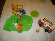 Fisher Price Little People Play Family playground bus swing merry go round lot
