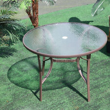 Glass Coffee Garden table Antique with Umbrella Hole Dining Tables Outdoor Yard