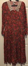 Vtg 80s LAURA ASHLEY Dressy Country Floral Day Tea Garden Dress 4 Lace Collar