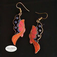*Vintage Old Stock 80's Metal Cloisonne Butterfly Earrings Wonderful Colours