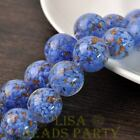 New 2pcs 20mm Lampwork Glass Dots Loose Spacer Round Beads Charms Deep Blue