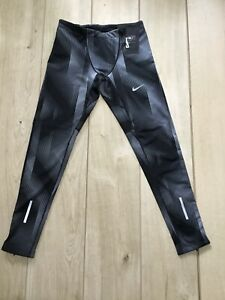 New Mens Nike Power Tech Printed Full Length Running Tights, Size Large
