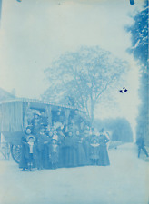Cyanotype, France, Photo de groupe  Vintage print.  cyanotype  12,5x17  Ci