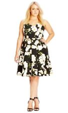CITY CHIC Dress - Floral Vintage Black White Green Stretch Tulle Pleated - M/18